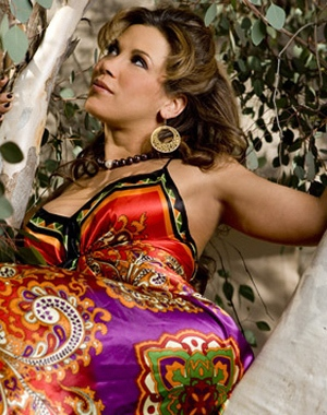 Mickie James in a dress
