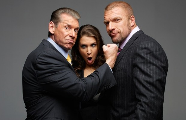 WWE CEO Vince McMahon with his daughter, Stephanie, the company's Chief Brand Officer, and her husband, Paul Levesque (aka Triple H), executive vice president of talent and live events.