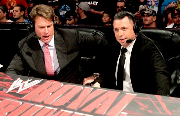 "John ""Bradshaw"" Layfield and Michael Cole"