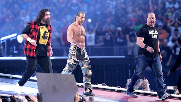 "Mick Foley, Shawn Michaels and ""Stone Cold"" Steve Austin"