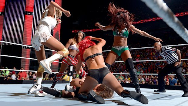 Nikki Bella vs. Alicia Fox, Eva Marie, Cameron and Rosa Mendes