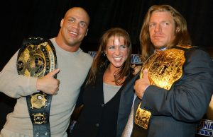 Kurt Angle, Stephanie McMahon and Triple H