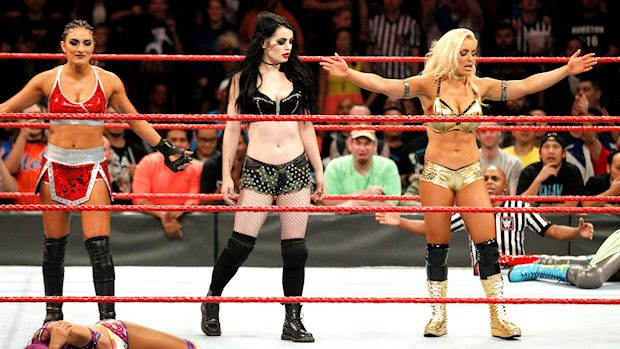 Paige, Sonya Deville and Mandy Rose