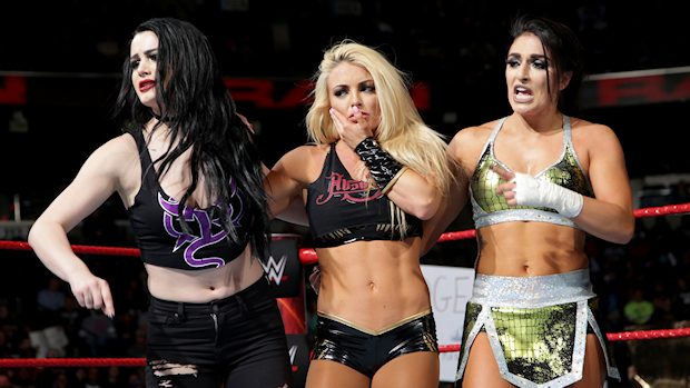 Paige, Mandy Rose and Sonya Deville