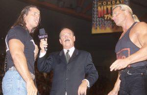 "Bret Hart, ""Mean"" Gene Okerlund and Lex Luger"